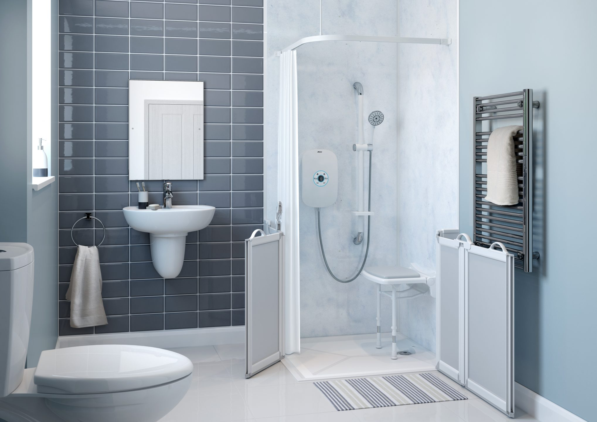 Shower with a shower seat